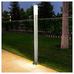 etc-shop LED Steckdosenleuchte, Aussenlampe mit Steckdosen Außensteckdose mit Licht Garten Aussensteckdose Edelstahl, 1x LED 9W 810lm 3000K, DxH 7,6x110 cm