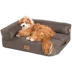 JAMAXX Premium 2-in-1 Hunde-Sofa - Orthopädisch Memory Visco, Abnehmbare Polster, Abnehmbarer Bezug Waschbar, Weiches Lammfell/Sherpa, PDB3014 (S) 65x50 braun