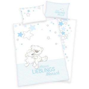Babybettwäsche Kleiner Lieblingsmensch - Baby-Bettwäsche-Set für Jungen von Herding in Flanell, 100x135 & 40x60 cm, Baby Best, 100% Baumwolle