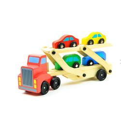 LeNoSa Spielzeug-LKW Holz Autotransporter mit vier Fahrzeugen