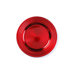 INGE-GLAS® Dekoteller, Dekoteller Kunststoff mit gerilltem Rand 33cm rot rot