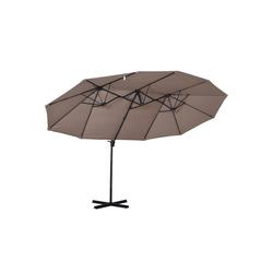 Outsunny Sonnenschirm Doppelschirm mit Kurbel braun