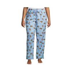 Gemusterte Flanell-Pyjamahose in großen Größen, Damen, Größe: 56-58 Plusgrößen, Blau, Baumwolle, by Lands' End, Kristallblau Faultier - 56-58 - Kristallblau Faultier