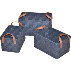 Aufbewahrungskorb (Set, 3 Stück) grau Körbe Aufbewahrung Ordnung Wohnaccessoires Aufbewahrungsboxen