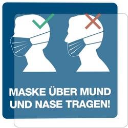 3 Stück Hinweis-Hinterglasaufkleber - Maske über Mund und Nase tragen