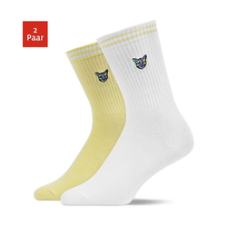 SNOCKS Sportsocken PARI x SNOCKS Tennissocken (2-Paar) mit Technocat-Embroidery gelb 47 - 50