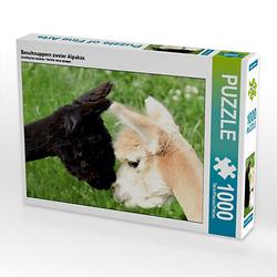 Beschnuppern zweier Alpakas Lege-Größe 64 x 48 cm Foto-Puzzle Bild von Heidi Rentschler Puzzle