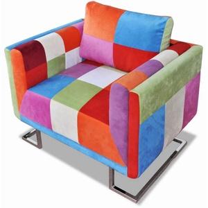 yorten Sessel Polstersessel Wohnzimmersessel Loungesessel mit Chromfüßen Patchwork-Design Stoff 85,5 x 63 x 74 cm Mehrfarbig