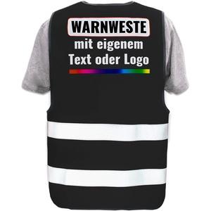 Warnweste mit eigenem Aufdruck selbst gestalten * Bedruckt mit Name Text Bild Logo Firma, Position & Druckart:Rücken/Premium-Druck, Farbe & Größe:Schwarz/Größe 5XL
