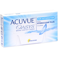 Acuvue Oasys for Astigmatism 12 St. / 8.60 BC / 14.50 DIA / -2.25 DPT / -2.75 CYL / 180° AX