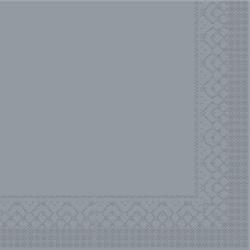 Mank Tissue Basics Servietten, 33 x 33  cm, 1/4 Falz, 3-lagig, 1 Karton = 6 x 100 Stück = 600 Servietten, grau