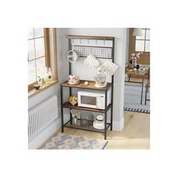 VASAGLE Küchenregal KKS17BX, Standregal für die Küche, 10 Haken, 84 x 40 x 170 cm, vintage