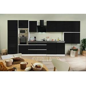 Respekta Premium Küchenzeile GLRP445HWSGKE  (Breite: 445 cm, Mit Elektrogeräten, Schwarz Hochglanz)