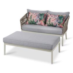Outdoor-Loungesofa mit Fußbank