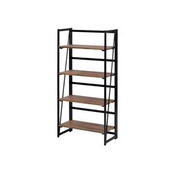 Fangqi Bücherregal 4-stufiges rustikales Bücherregal, Multi-Funktionen Regal aus Holz und Metall, stehendes Regal für Dekorationen oder Aufbewahrung braun