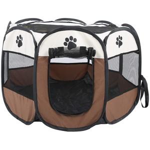 Ejoyous Haustiere Laufstall Tierlaufstall Hundehütte, Faltbar Welpenlaufstall für Hunde Katzenhaus Wasserdichtes Zelt 68 x 45 cm(Braun)