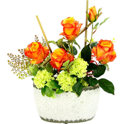 Kunstpflanze Rosen/Schneeball Rosen/Schneeball, I.GE.A., Höhe 50 cm