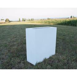 Pflanztrog, Pflanzkübel Fiberglas als Raumteiler 84x30x80cm perlmutt weiß.