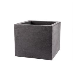 BigDean Pflanzkübel Kubus 50x50 cm groß − Granitstein−Optik in Anthrazit − Für Außen, frostsicher & wasserdicht
