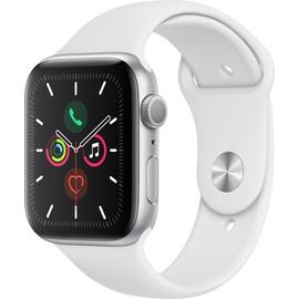 Apple Watch Series 5 (GPS) 44mm Aluminiumgehäuse Silber, Sportarmband Weiß