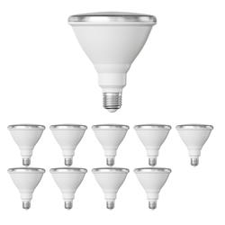 E27 PAR38 LED Reflektor-Leuchtmittel 16W =175W 1700lm weiß A+ für innen und außen mit kurzem Hals, 10 Stk.