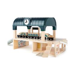 Small Foot Spielzeug-Eisenbahn Bahnhof mit Zubehör