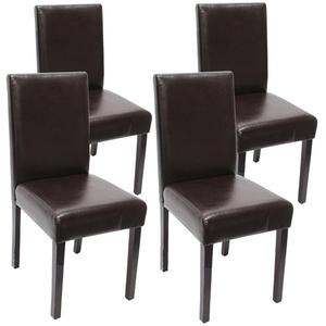 4x Esszimmerstuhl Stuhl Küchenstuhl Littau ~ Leder, braun dunkle Beine