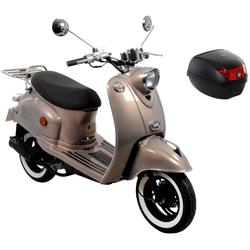 AGM MOTORS Motorroller GMX 460 Retro Classic NF Edition, 50 ccm, 45 km/h, Euro 4, inkl. Topcase braun