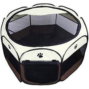 Coolty Faltbar Haustier Zelt, Tragbarer Welpenlaufstall Tierlaufstall für Hunde Katzen Kleintiere, 91 * 91 * 58cm (Braun)