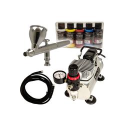 Airbrush-City Druckluftwerkzeug Komplett Airbrush Set mit IWATA Neo + Kompressor + Vallejo Premium Farben, (1-St)