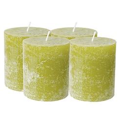 Rustikale Kerzen, grün, 4 Stück