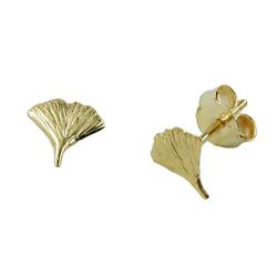 Gallay Paar Ohrstecker 375 Gelbgold Ohrringe 7mm Ginkgoblatt glänzend 9Kt GOLD