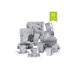 MALACASA Kombiservice FLORA (36-tlg), Porzellan, 36 Tlg. Marmor Porzellan Geschirrset