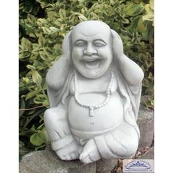 S101095 Gartenfigur kleiner sitzender lachender Buddha Steinfigur 19cm