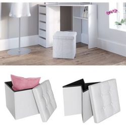 VICCO Sitzhocker weiß Sitzwürfel Hocker Aufbewahrungsbox faltbar 38x38x38 cm