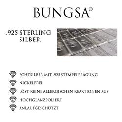 BUNGSA Ohrstecker-Set Ohrstecker Kristallherz 925 Silber Damen (inkl. Schmuckbeutel aus Organza), Ohrschmuck Ohrringe Frauen Geschenk Liebe
