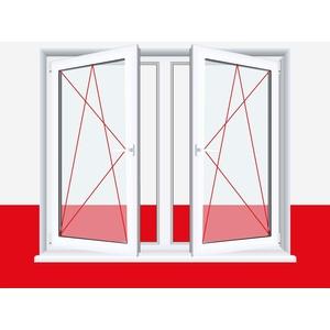 2-flügliges Kunststofffenster Weiß Dreh-Kipp/Dreh-Kipp mit Pfosten, BxH:800x500 (80x50 cm), Glas:3-Fach