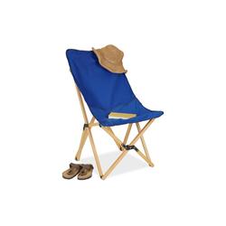 relaxdays Klappstuhl Holz Liegestuhl klappbar blau blau