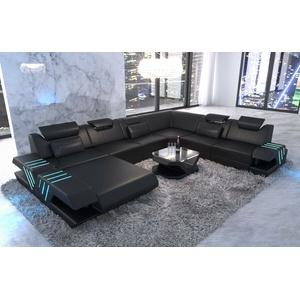 Wohnlandschaft XXL Leder Couch Designer Sofa VENEDIG Ottomane LED USB schwarz