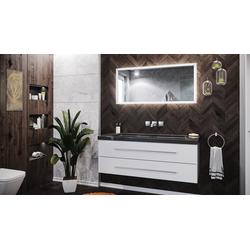 Emotion Waschtisch Badmöbel-Set Damo 130 2-tlg. inkl. Granit India Black ohne Hahnloch weiß