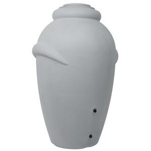 Ondis24 Regentonne Regenfass Regenwassertonne Wasserbehälter Amphore Grau 360L aus stabilem Kunststoff mit 2 Wasserauslässen und mit integriertem Blumenkübel im Deckel