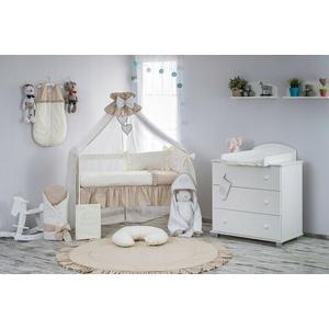 Babybett Klup mit 10-tlg Komplett-Set Bettwäsche Matratze Nestchen Cremig Caffee