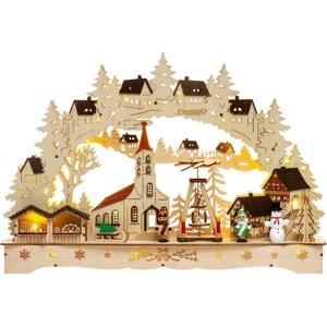 SIKORA Schwibbogen LB70 Kirchplatz Weihnachtsmarkt mit LED Beleuchtung B:42,5cm