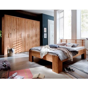Massivholz Möbel Set für Schlafzimmer Wildeiche geölt (2-teilig)