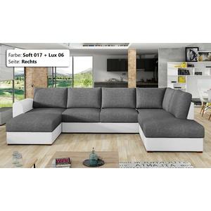 Ecksofa Virginia Wohnlandschaft mit zwei Bettkasten Schlafsofa Holzfüße Couch