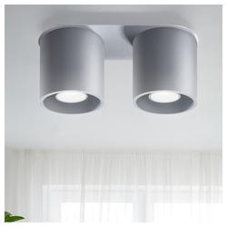 etc-shop LED Einbaustrahler, Deckenstrahler modern Designer Küchenlampen Strahler 2 flammig Deckenlampe Spots, Aluminium grau, 2x GU10, LxH 26 x 12 cm