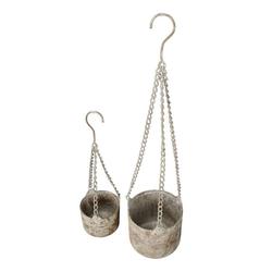 Posiwio Blumentopf 2tlg. Hängetopf OLD GARDEN grau braun aus Metall Blumentopf zum Hängen (gr+kl)