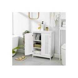 VASAGLE Badkommode BBC52WT, Badschrank mit 2 Türen, 60 x 30 x 80 cm, weiß