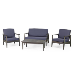Willowbrook Patio Acacia Wood 4 Seater Chat Set with Coffee Table - Gray/Dark Gray - Christopher Knight Home