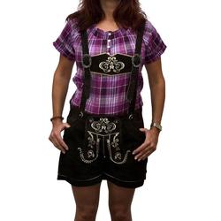 Engelleiter Trachtenlederhose Damen Ledershort braun (verstellbare Träger, abnehmbare Träger) 38